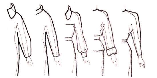 силуэтные линии фасонов Sleeves-kimono-banner
