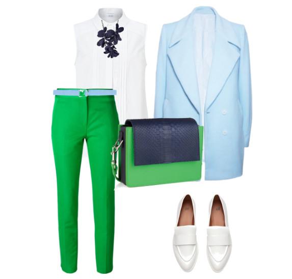 Сочетание зелёного и синего цветов в одежде