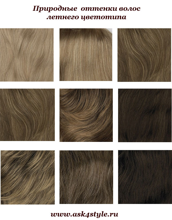 Оттенки цвета волос палитра фото