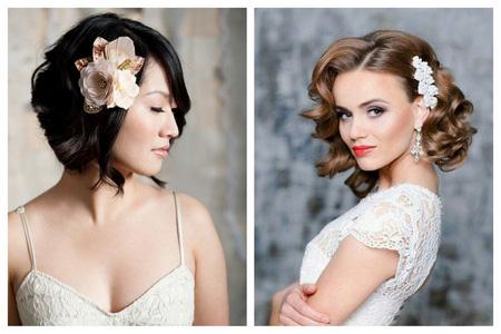 Свадебные прически на волосы каре без челки