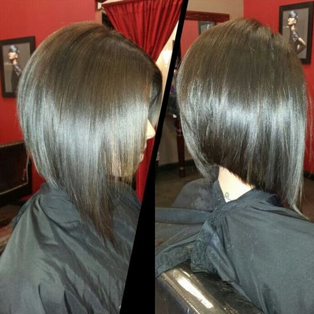 Стрижка градуированный боб на длинные волосы