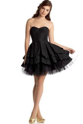 Черное пышное платье до колен