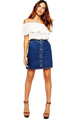 Джинсовая юбка расклешенная с чем носить
