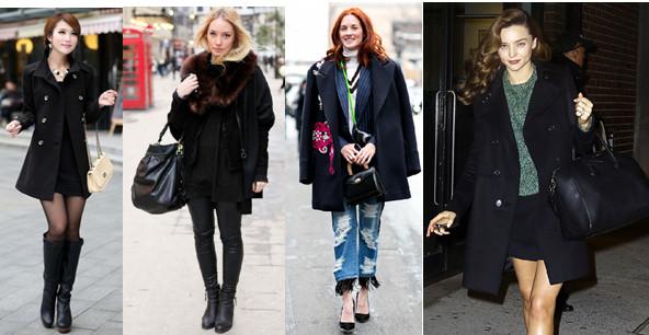 с чем носить чёрное пальто до колена фото