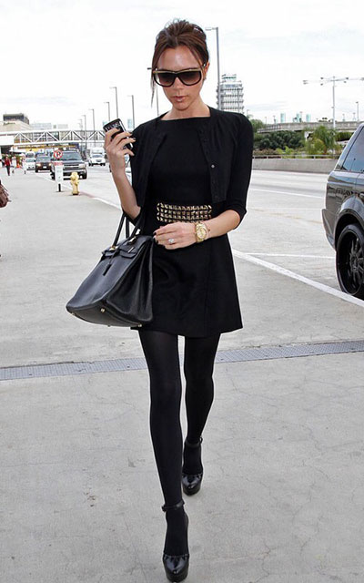 Черная юбка и черные плотные колготки