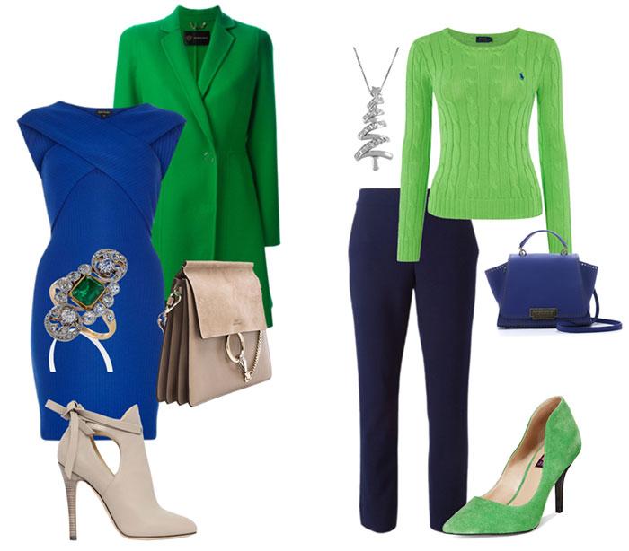 сочетание зеленого и синего в одежде фото также опирается огромное