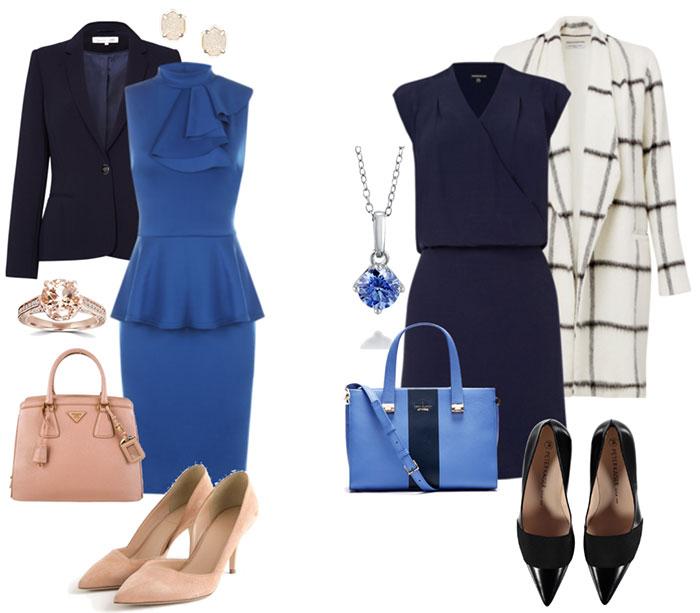 С чем сочетается темно синие платье