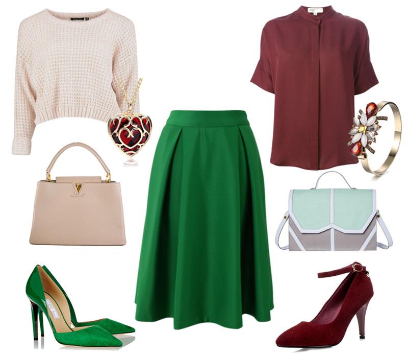 Что подходит под зеленую юбку