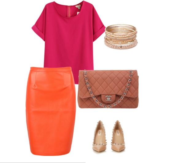 Сине-оранжевая юбка