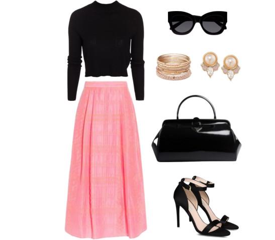 С чем одеть длинную  розовую