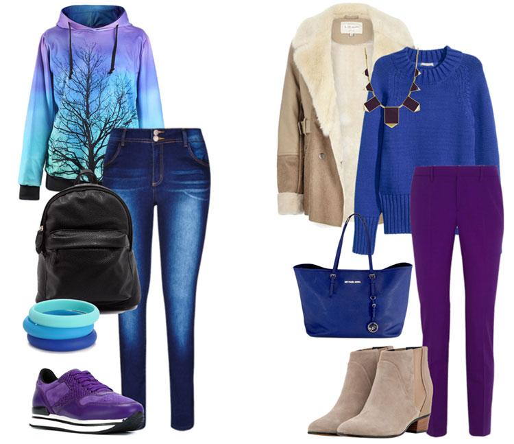 5738ff80c2916 Сочетание фиолетового и синего цвета в одежде
