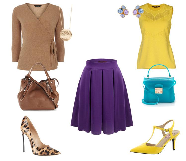 Фиолетовая юбка с чем одеть