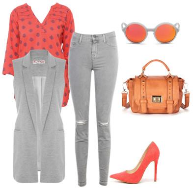 4bb09b8be62cd Сочетание красного и серого цвета в одежде