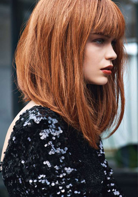 Стрижка боб на длинные волосы с челкой: фото