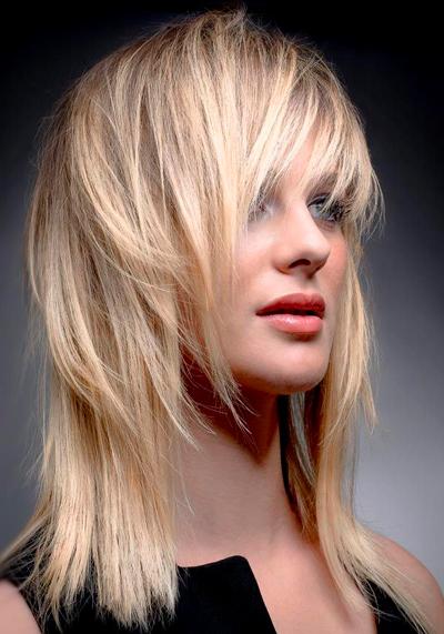 каскад на средней длины волосы фото