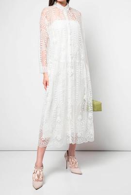Платье миди из легкой, воздушной ткани для невысоких