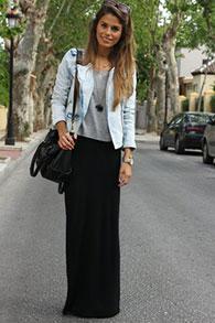 Длинная юбка черная узкая